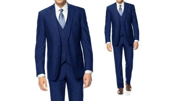 Braveman Big and Tall Men's Slim 3 Piece Suit - Blue - Size: