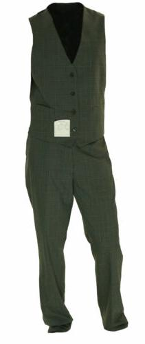 Calvin Klein Big Tall Fit Plaid Suit Gray 42 35W