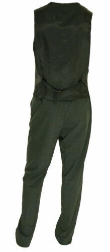 Calvin Klein Big Plaid Vested Suit 42 Xlong 35W