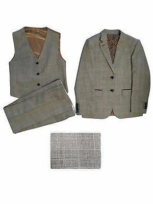 big boys heather gray plaid jacket vest