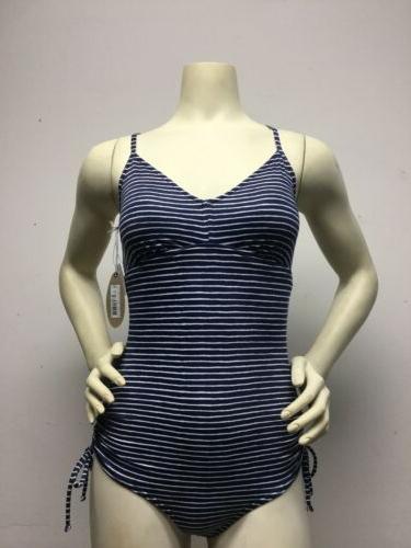 blue anchor stripe one piece swimsuit swim