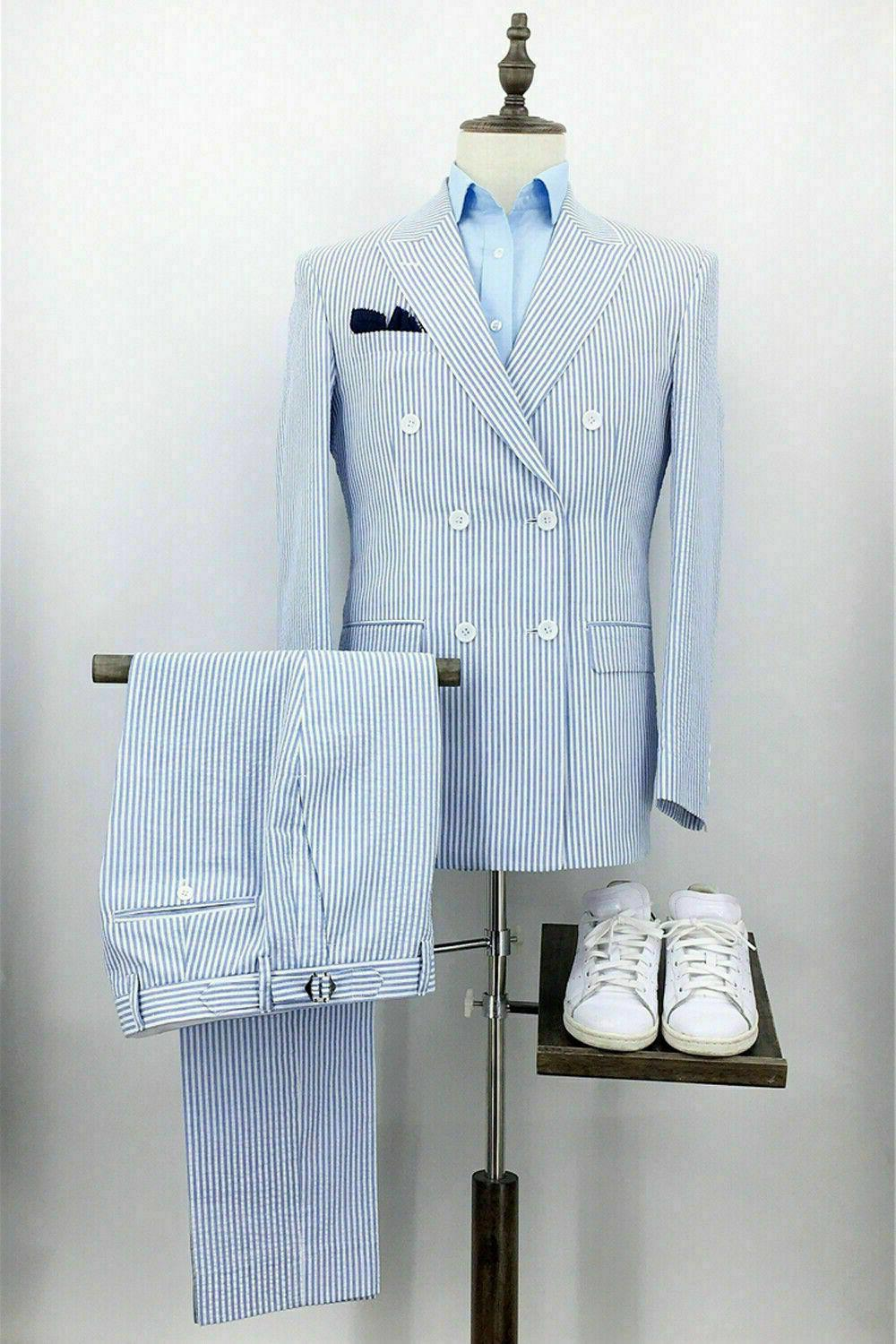 Blue Men Formal Wear Double +