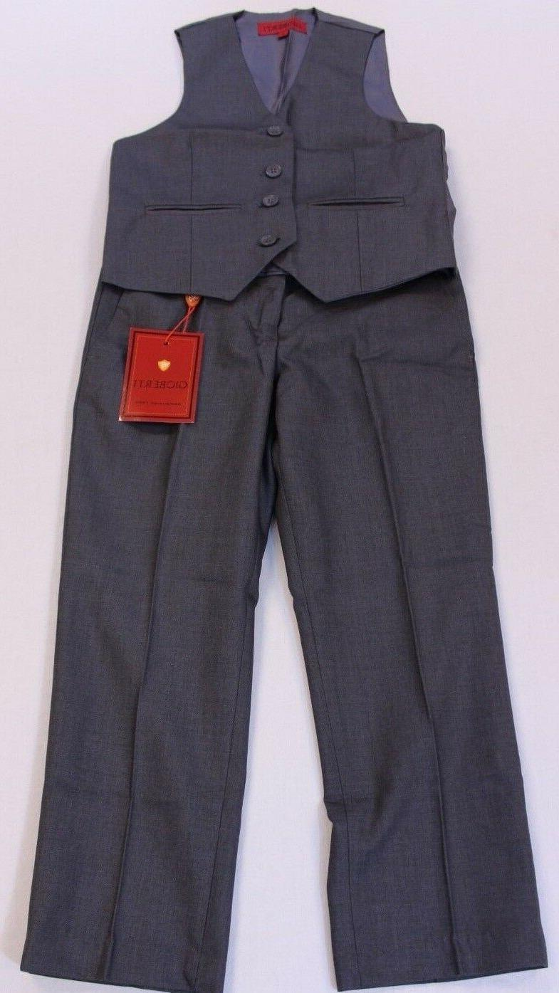 Gioberti Boy's 4 Button Formal Suit Vest and Pants Charcoal