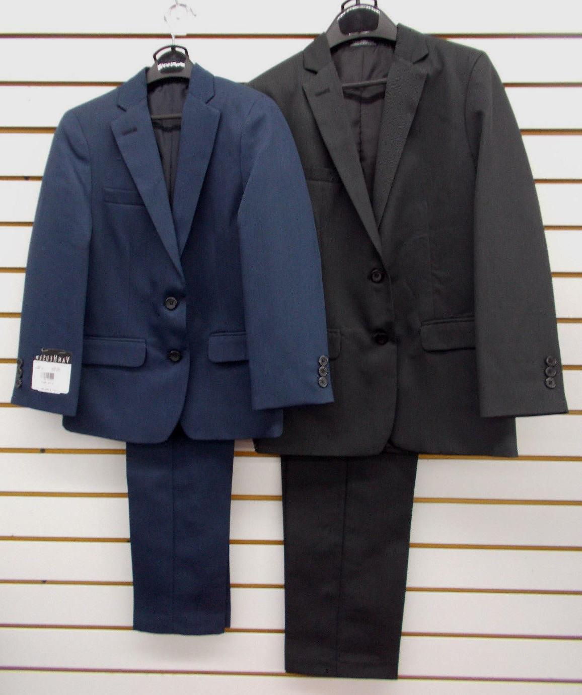Boys Van Heusen $100 2pc Black or Dark Blue Suits Size 8 - 1