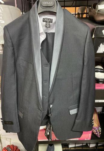boys 4 piece classic suit charcoal size