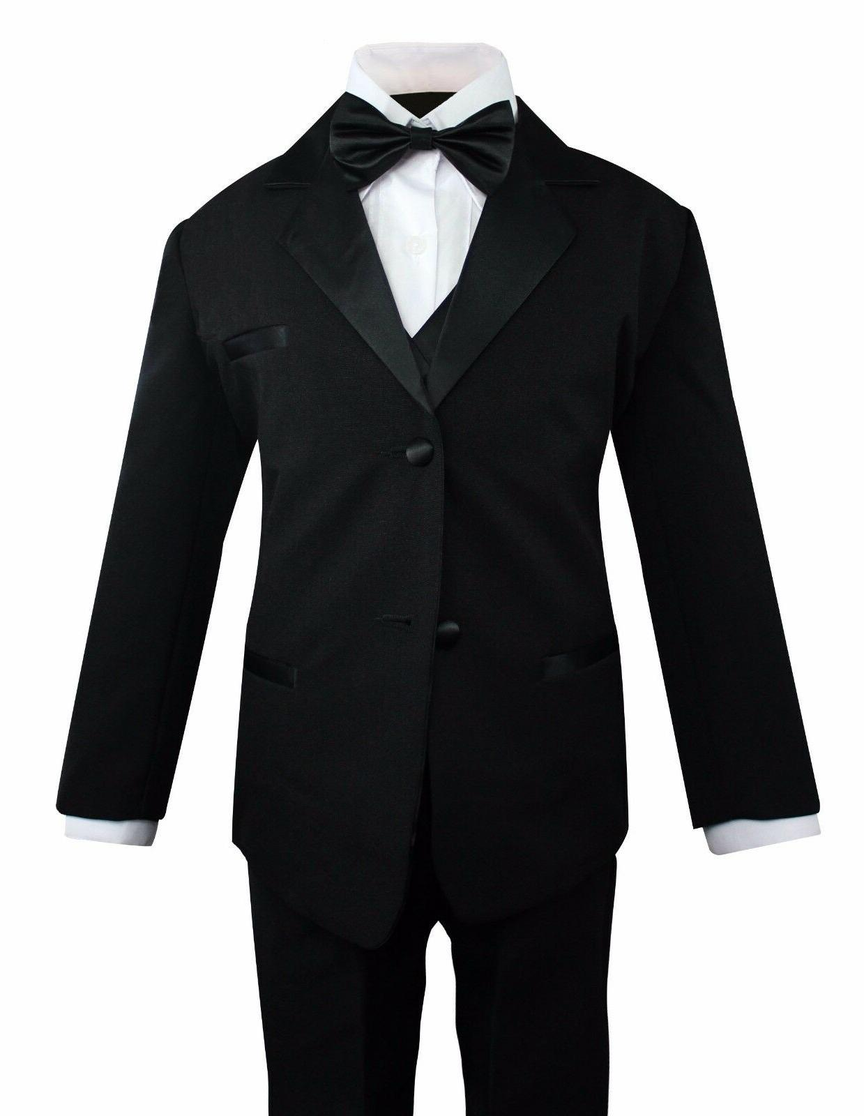 Formal Toddler Boys Tuxedo 5 pieces Set with Satin Vest and