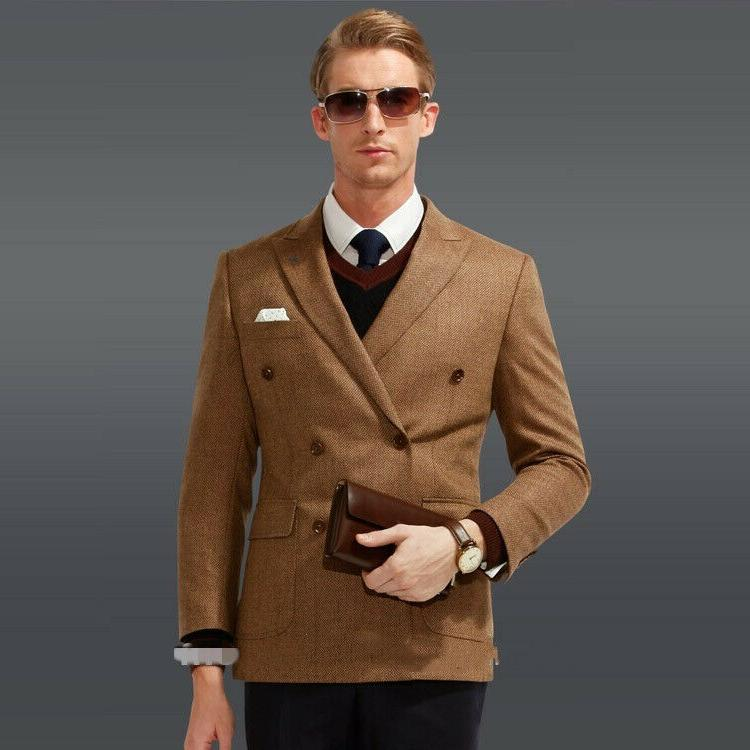 Brown Formal Tweed Double Brested Wedding Groom