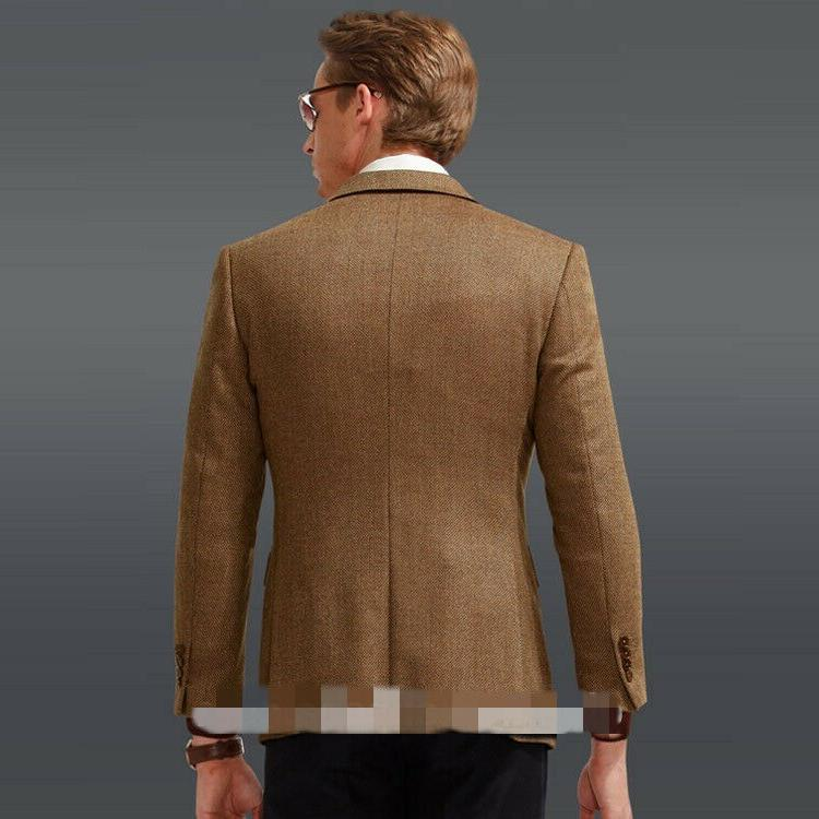 Brown Formal Tweed Groom Tuxedos Blazer