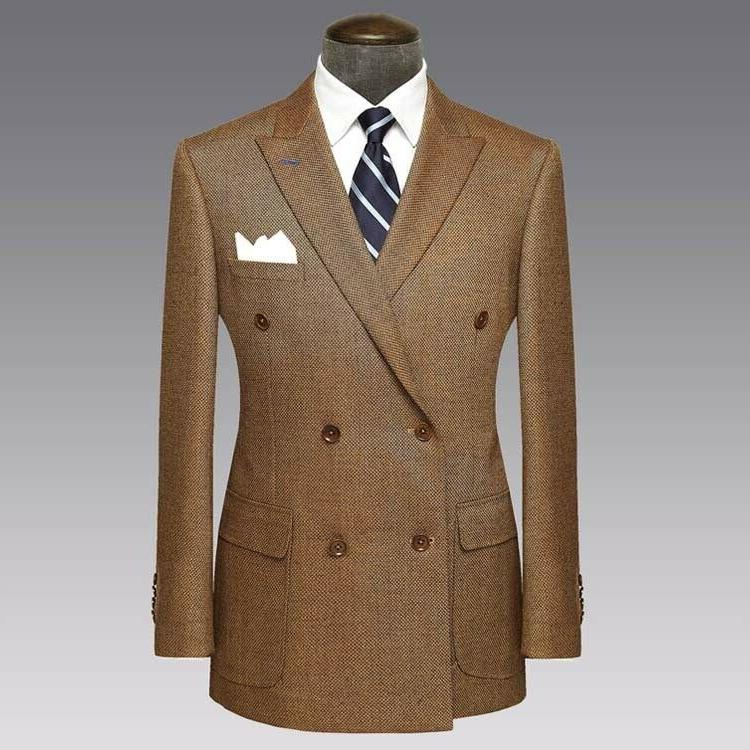 Brown Formal Men Tweed Double Brested Groom Blazer