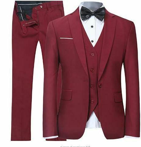 burgandy 3 piece suit and pants medium