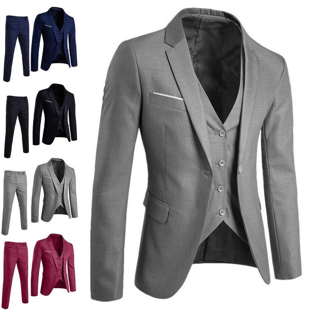 US 3-Piece Suit Blazer Business Men Suit Slim Wedding Party