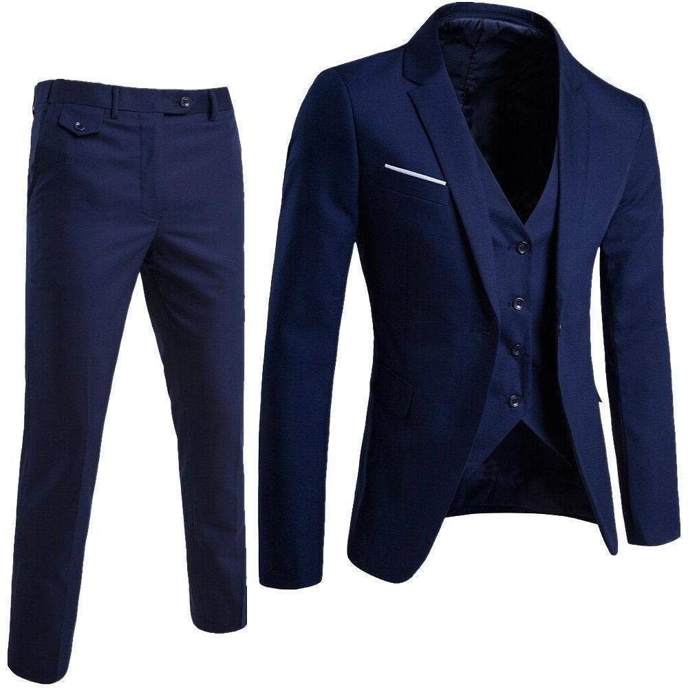 Business Men's Suit Slim 3-Piece Party Jacket Pants