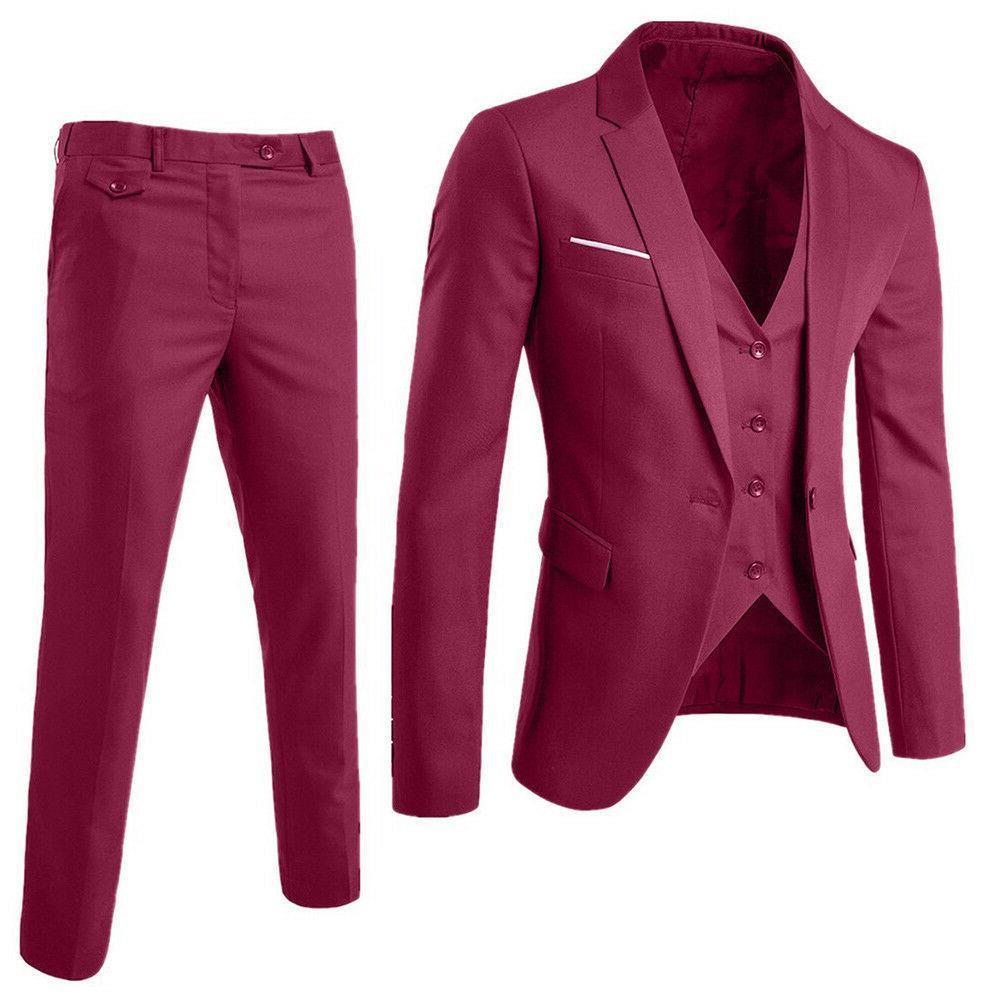 US 3-Piece Suit Blazer Business Suit Wedding Party Jacket & Pants