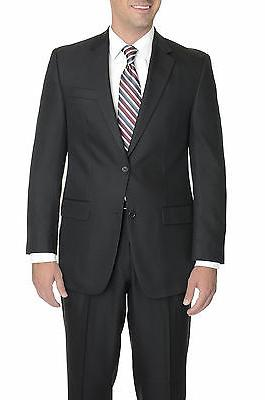 IZOD Classic Fit Solid Black Two Button Suit With Pleated Pa