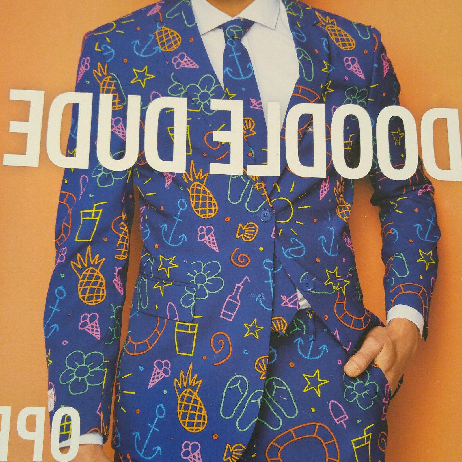 Opposuits Doodle Dude Men's Party Size 42 Three In Box