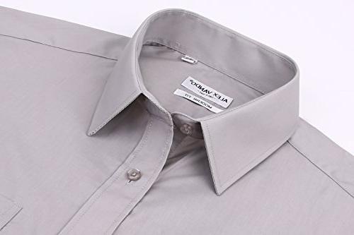 Alex Mens Shirts Solid Regular Long Sleeve Shirt,Grey,17.5