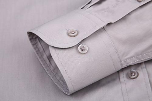 Alex Vando Mens Shirts Solid Fit Long Sleeve Collar