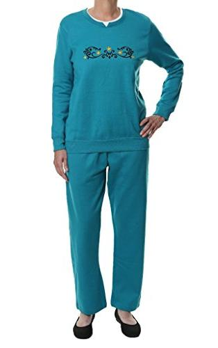 embroidered fleece sweatsuit set m