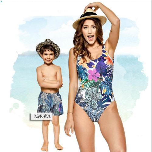 Family Kids One-piece Swimwear Bathing