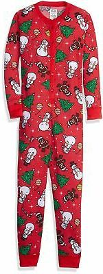 big girls union suit red christmas print
