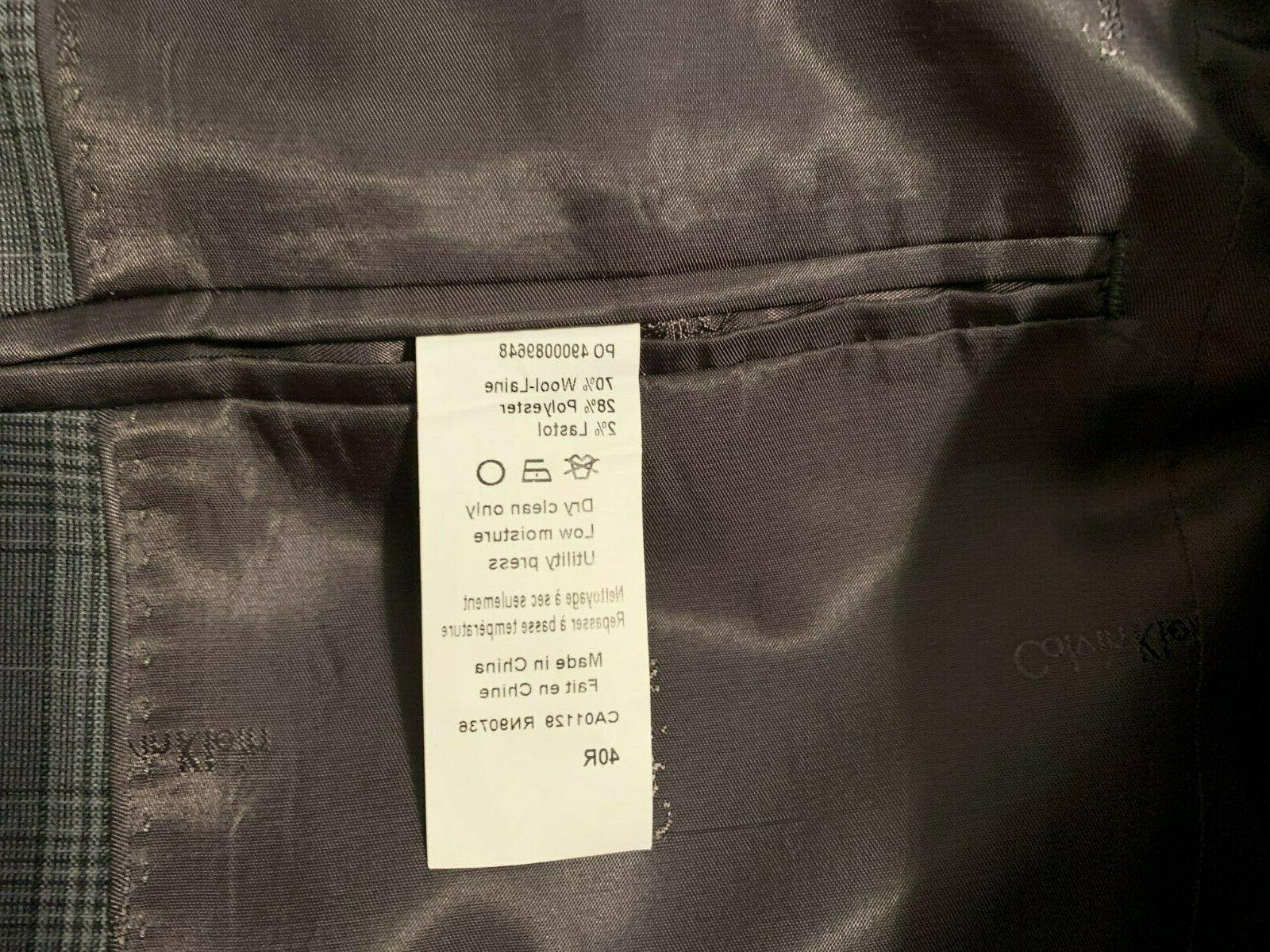 Calvin grey wool suit jacket sport 40 R NEW