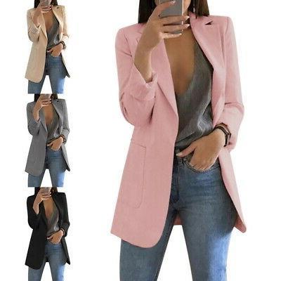 US Fashion Women Suit Coat Business Blazer Long Sleeve Outwe
