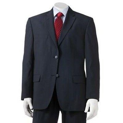 Haggar HZ00220 Mens Classic Fit 2 Button Navy Pinstripe Suit