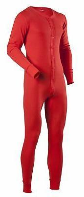 Indera Cotton 1 x 1 Rib Unionsuit - Red - Men Tall Size M