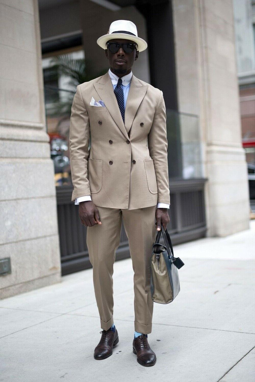 Khaki Men Suit Work Tuxedos Double Brested 2PC