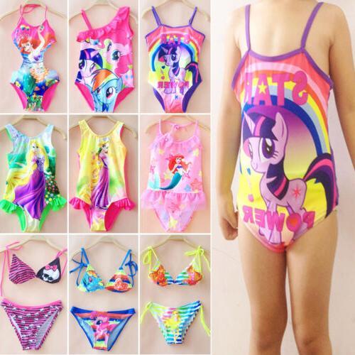 Kids Mermaid My Little Pony Girls Bikini Set One Piece Swims