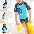 Kids Toddler Boys Swimsuit 3Pcs Tops Swim Trunks Cap Speedo