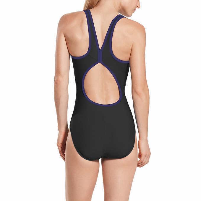 Speedo Swimsuit Size XL 16 18 NWT Blue Modest