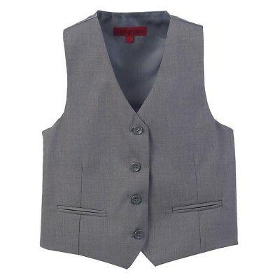 little boys grey solid color four button