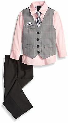Van Heusen Little Boys' Plaid Vest & Pant Set W/ Shirt & Tie