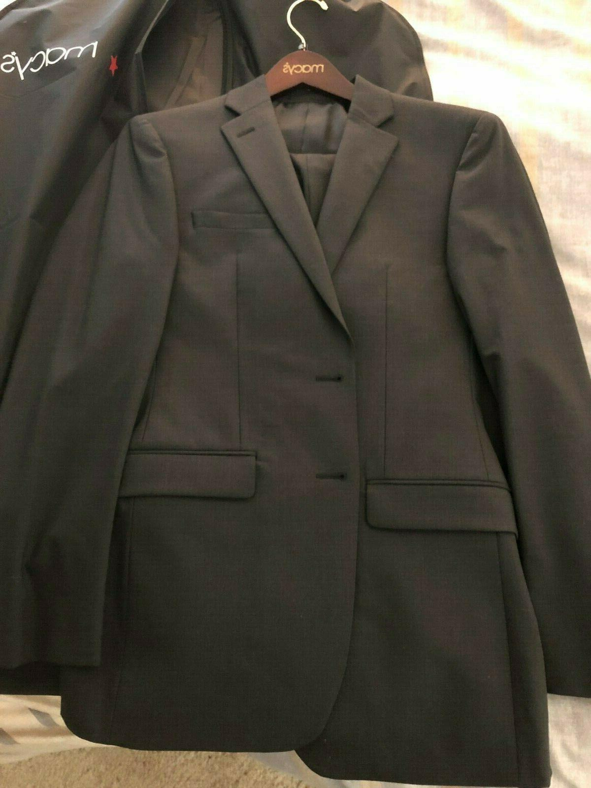 macys mens dark gray grey suit separates