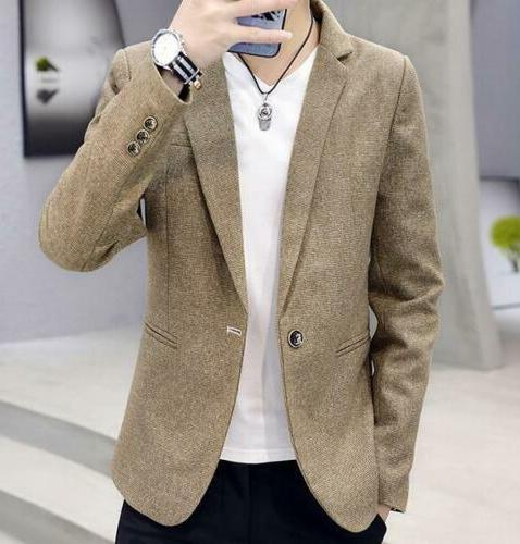 Men Casual Slim Fit One Button Suit Blazer Business Coat Jac