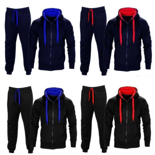 men gym sports suit tracksuit hooded sweat