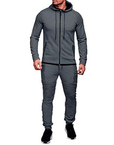 men s 2 piece tracksuits pleated jogger