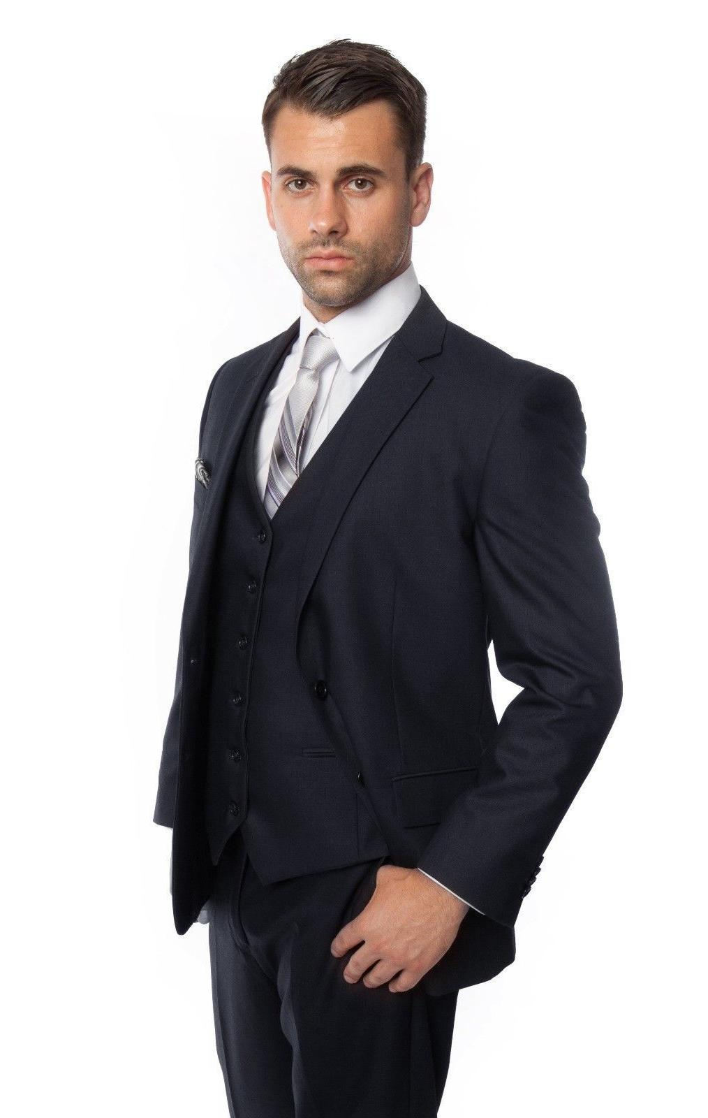Men's 3 Piece Vested Suit Solid Big and Tall Wedding Italian