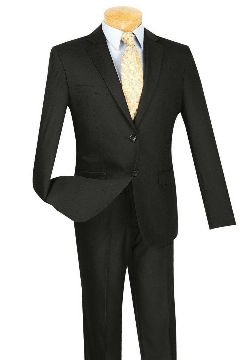 Vinci Men's Black Button Extreme Suit