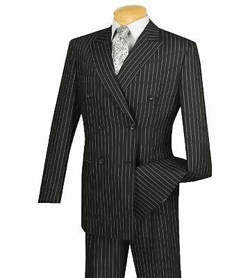 VINCI Men's Pinstripe Double Breasted 6 Classic Fit