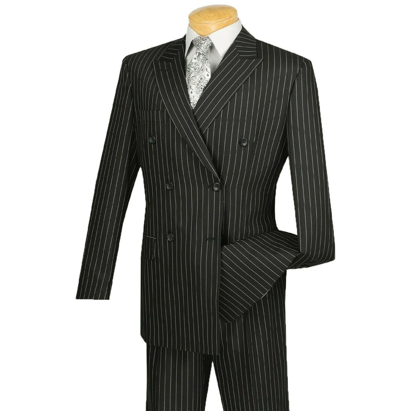 VINCI Men's Black Double Breasted Classic Fit Suit