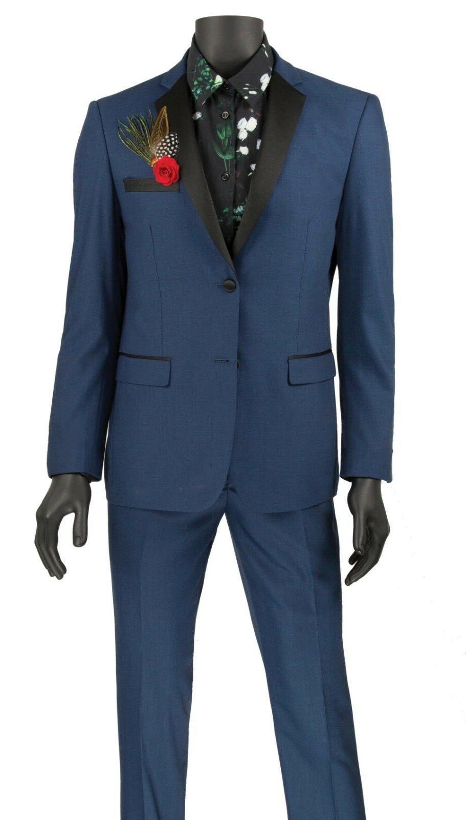 Vinci Men's Blue Button Extreme Tuxedo