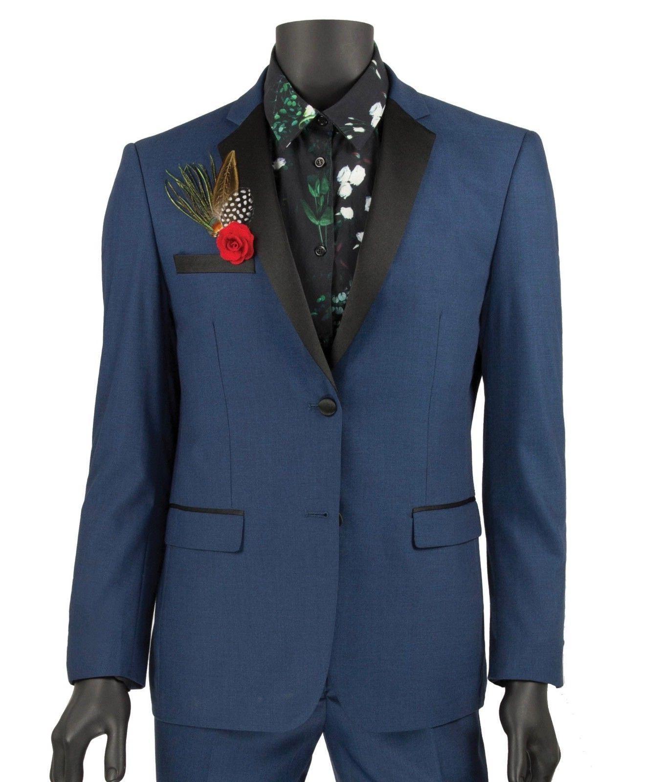 men s blue 2 button extreme slim