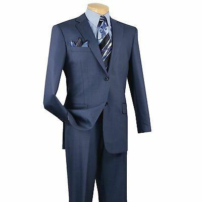 VINCI Blue Textured Solid 2 Button Classic Fit Business Suit