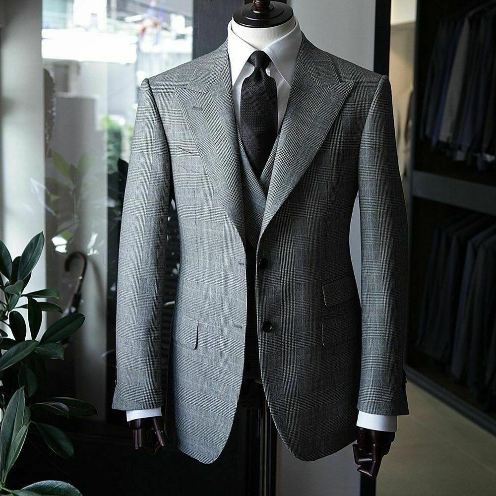 Men's Business Suits Slim Fit Plaid Blazer Vest Pants Formal