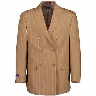 VINCI Beige Pinstripe Double Button Classic Suit NEW