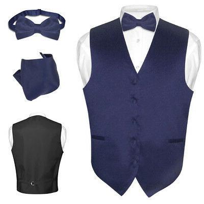 men s dress vest bowtie hanky navy