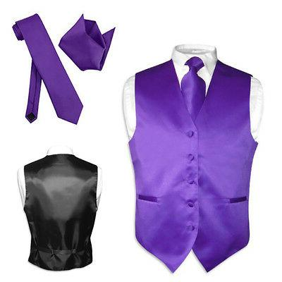 men s dress vest necktie hanky purple