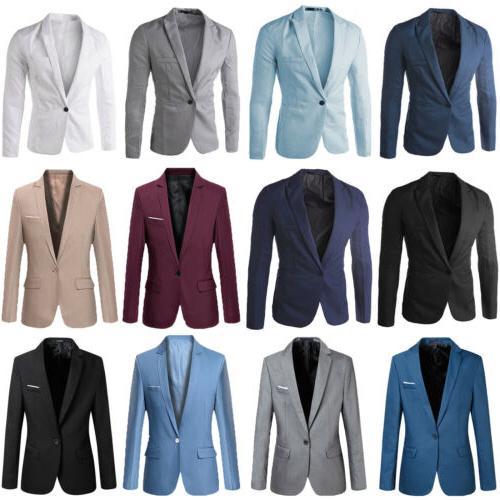 Men Slim Fit Button Long Sleeve Business Coat Jacket Tops
